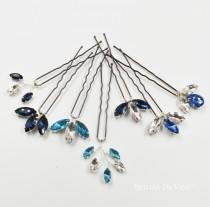 wedding photo - Navy, Sapphire Blue, Turquoise  Sparkly Rhinestone Bridal Hair Pins, Bridesmaids Hair Accessories