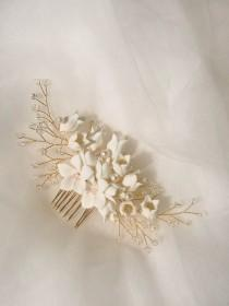 wedding photo - FREE SHIPPING -  Handmade Porcelain Faith Floral Bridal Hair Comb - Delicate Wedding Hair Comb, Wedding Flowers, Bridal Hair Accessories