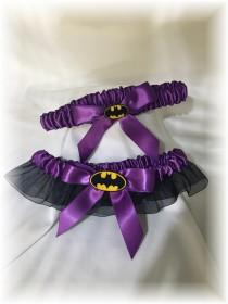 wedding photo - Batman Wedding Bridal Garter- Purple, Alternative Wedding