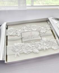 wedding photo - LIGHT IVORY Wedding Garter - Bridal Garter Lace Garter Wedding Garter Set Bridal Garter Set Toss Garter Belt Wedding Gift - Style #F0318
