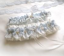 wedding photo - Pale blue light ivory off white lace garter Wedding garter Vintage style bridal Personalized garters set