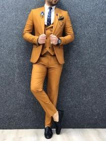 wedding photo - Men Suits Mustard Wedding Suit, 3 Piece Groom Wear One Button Slim Fit Suits,