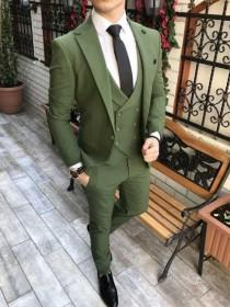 wedding photo - Men Suits Green 3 Piece Slim Fit Formal Fashion Wedding Suit Party Wear Dinner Suit Bespoke For Men