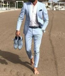 wedding photo - Men Suits Beach Suits Wedding Groom Wear 2 Piece Suits For Men 2 Button Suits Wedding Party Wear Dinner Suits Sky Blue Summer Beach Suits