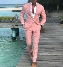 wedding photo - Men Suits Jackets, groom Wedding Suits, Pink Suits, Slim Fit 1 Button Tuxedo Suits, Men Prom Suits,Dinner Suits Pant