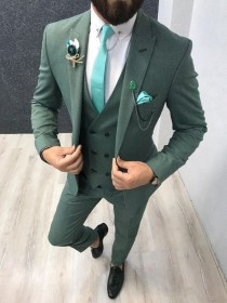 wedding photo - Men Suits Elegant Designer 3 Piece Suit, Green Wedding Groom Wear One Button Slim Fit Coat Pant Suit