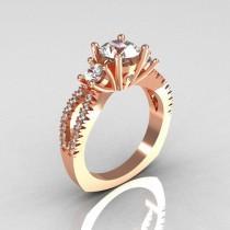 wedding photo - Modern French Bridal 18K Rose Gold Three Stone 1.0 Carat Zircon Accent Diamond Engagement Ring R140-18RGDZ