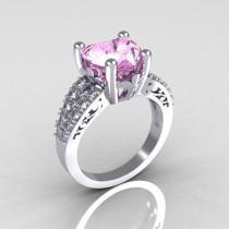 wedding photo - Modern Vintage 14K White Gold 3.0 Carat Heart Light Pink Sapphire Diamond Solitaire Ring R134-14KWGDLPS