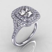 wedding photo - Soleste Style 14K White Gold 1.25 Carat Cushion CZ Bead-Set Diamond Engagement Ring R116-14WGDCZ