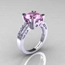 wedding photo - Modern Vintage 14K White Gold 3.0 Carat Light Pink Sapphire Diamond Solitaire Ring R102-14KWGDLPS