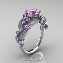 wedding photo - Nature Classic 14K White Gold 1.0 Ct Light Pink Sapphire Diamond Leaf and Vine Engagement Ring R340S-14KWGDLPS