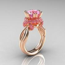 wedding photo - Classic 14K Rose Gold 3.0 Ct Light Pink Sapphire Knot Engagement Ring R390-14KRGLPS