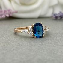 wedding photo - Rose Gold Art Deco Oval Natural London Blue Topaz Ring Round And Marquise Simulated Diamond Sterling Silver Engagement Wedding Promise Ring