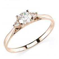 wedding photo - 14K Solid Rose Gold Round 3 Stone Enagement Promise Ring