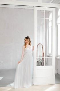wedding photo - Long sleeve wedding dress, Lace wedding dress, Minimalist wedding dress, Lace bridal gown, Tulle dress