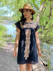 wedding photo - Mexican Floral Embroidered Dress. Mexican Artisanal Dress. Lace Sleeve Dress. Mexican Traditional Dress. Frida Kahlo. Bridesmaid Dress.