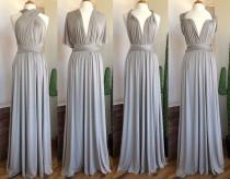 wedding photo - SILVER Bridesmaid Dress/ CUSTOM LeNGTHS/ Convertible Dress / Infinity Dress/ Multiway Dress/  Multi Wrap Dress / Plus Size /