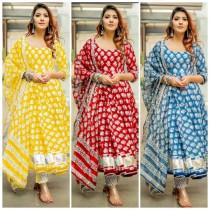 wedding photo - Indian Bollywood Designer Handblock Indigo Kurta Pant With Dupatta Set With Gota Detailing Gold Printed.Free Express Shipping In USA/UK.