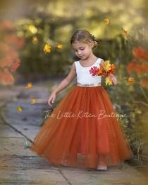 wedding photo - Burnt Orange Flower Girl Dress, Rust Flower Girl Dress, Rustic lace flower girl dress, Boho Flower Girl Dress, Toddler dress, Girls Dress