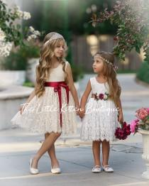 wedding photo - Flower girl dress, Bohemian Flower Girl Dress, rustic flower girl dress, boho flower girl dress, lace flower girl dress, boho wedding dress