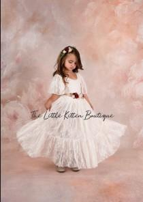 wedding photo - flower girl dress, lace flower girl dress, boho flower girl dress, tulle flower girl dress, beach flower girl dress, lace wedding dress