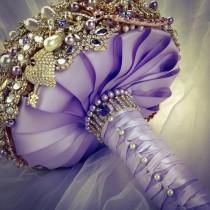 wedding photo - Classic Rich Gold Lilac Lavender Purple Ivory Swarovski Crystal Brooch Bouquet. FULL PRICE Amber Topaz Lilac Swarovski Pearl Broach Bouquet.