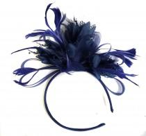 wedding photo - Caprilite Navy Blue Fascinator on Headband AliceBand UK Wedding Ascot Races Loop