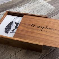 "wedding photo - 4x6"" Wood Boudoir Photo Box - Engraved Keepsake Box, Wedding Album Alternative, Memory Box Gift for Birthday Anniversary Valentines Day"