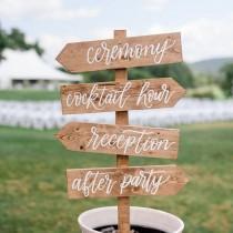 wedding photo - Wood Wedding Directional Sign With Stake