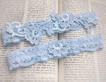 "wedding photo - Blue Wedding Garter Set, Something Blue Lace Garter Set, Blue Garters, Bridal Garters, Garter Set, Lace Garters, Toss Garter ""Lulu"""