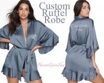 wedding photo - Personalized Ruffled Robe Satin Ruffle Robe Customized Satin Ruffle Robe Bridal Ruffle Lace Robe Kimono Ruffle Robe Wedding Gift