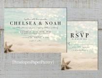 wedding photo - Elegant Beach Wedding Invitation,Star Fish,Sandy Beach,Blue Water,Destination Wedding,Hawaii Wedding,Shimmery,Printed Invitation,Wedding Set