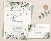 wedding photo - Greenery Invitation Template, Editable Greenery Invite, Wedding Invitation Template Download, White Greenery Wedding, Invite with rsvp, ARIA