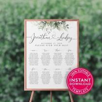 wedding photo - Wedding Seating Chart Template, Printable Seating Chart Wedding, Chart Sign, Chart Board, Table Seating Chart, Seating Plan, Welcome Sign
