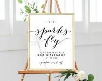 wedding photo - Let The Sparks Fly Sparkler Send Off Sign, 8x10 DIY Sign, Instant Download, Wedding Reception Sign, Editable Printable Wedding Sign