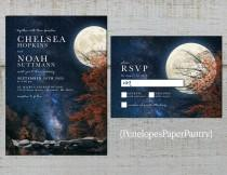 wedding photo - Rustic Fall Wedding Invitation,Night Sky,Stars,Full Moon,Fall Trees,Rocks,Nature,Personalize,Printed Invitation,Wedding Set,Envelope
