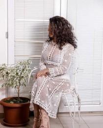 wedding photo - White lace crochet dress in boho style