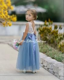 wedding photo - Ivory flower girl dress, tulle flower Girl dress, boho flower girl dress, Rustic lace flower girl dress, blue flower girl, toddler dress