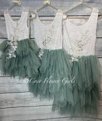 wedding photo - Pretty Sage Green Boho Dress Princess Tutu Flower Girl Dress Bridal Vintage Ruffles with Applique