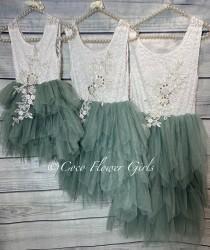 wedding photo - Pretty Sage Green Boho Dress Princess Tutu Flower Girl Dress Bridal Vintage Ruffles with Applique