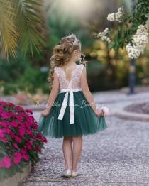 wedding photo - tulle flower girl dress, rustic lace flower girl dress, bohemian flower girl dress, boho flower girl dress, ivory flower girl dress, wedding