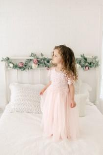 wedding photo - Bohemian Blush Flower Girl Dress, Boho Tulle Wedding Dress, Baby Pink Lace Summer Dress