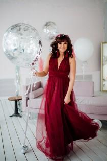 wedding photo - Plus size Burgundy wine Bridesmaid dress, burgundy infinity dress, burgundy convertible dress, burgundy multiway dress, bridesmaid dress