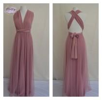wedding photo - DUSTY PINK TULLE Bridesmaid dress Infinity dress Twist and wrap dress Tulle Multi-way dress Convertible Maxi dress Pink dress Tulle overlay