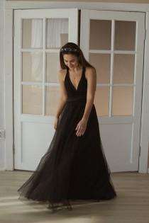 wedding photo - Black Bridesmaid dress with tulle skirt, black infinity dress, black convertible dress, black multiway dress, black bridesmaid dress, maxi