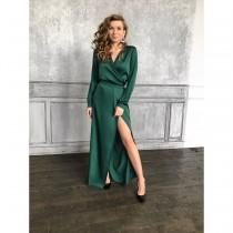 wedding photo - Emerald silk wrap dress maxi