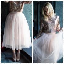 wedding photo - 147 colors Tulle Skirt, Wedding Tulle skirt, Bridal Tulle skirt, Blush Tulle Skirt, Midi tulle skirt, Bridal tulle skirt, Lush tulle skirt