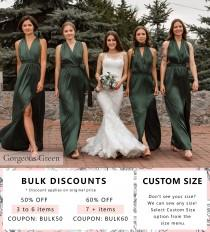 wedding photo - Green Infinity Bridesmaid Dress • Luxury Silk Long Multiway Prom Wrap Dress • Sexy Satin Plus Size Transformer • Unique Gift Idea for Her