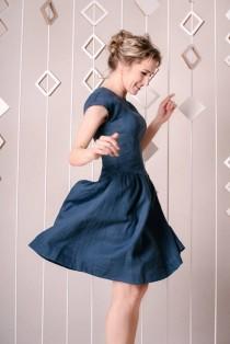 wedding photo - Wedding Guest Dress LOVE, Blue Linen Dress, Linen Clothing, Linen Wear, Fit And Flare Dress, Linen Fashion, Plus Size Dress, Linen Dresses