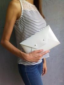 wedding photo - White leather clutch bag /  Leather bag available with wrist strap / Genuine leather / Wedding clutch / Bridesmaids clutch / MEDIUM SIZE